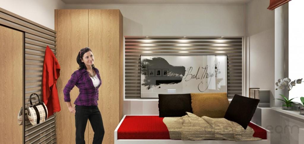 Drevený lamelový rošt tvorí hlavný dekoračný prvok interiéru.
