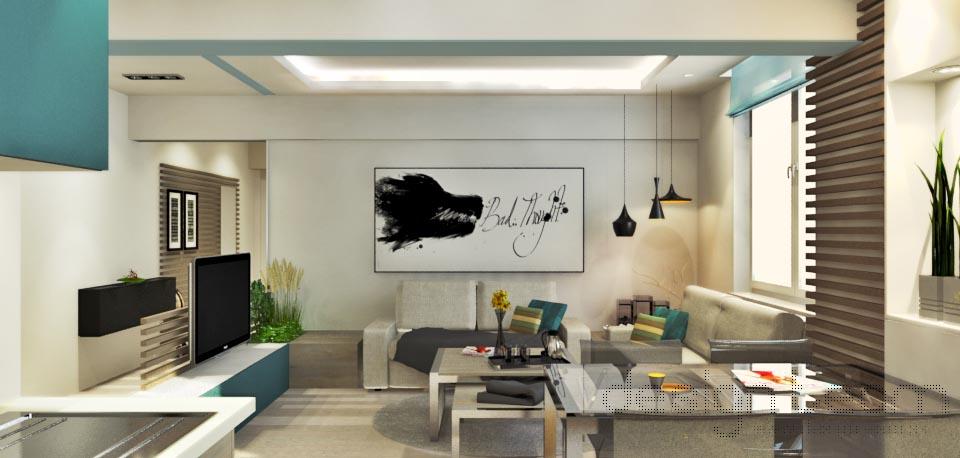 Zostava pohoviek a nábytku sa odzrkadľuje v tvarosloví stropu.