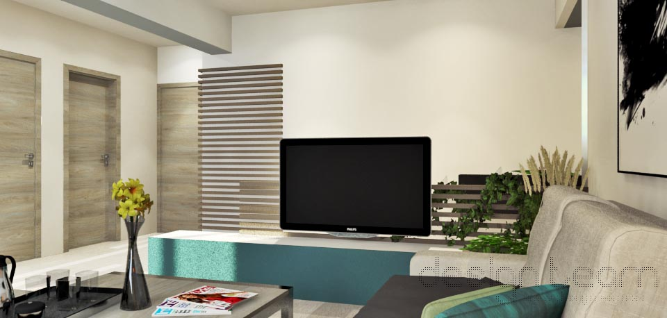 Obývačkový nábytok minimálneho množstva. Do popredia vyskočí otvorený priestor modelovaný tieňmi.