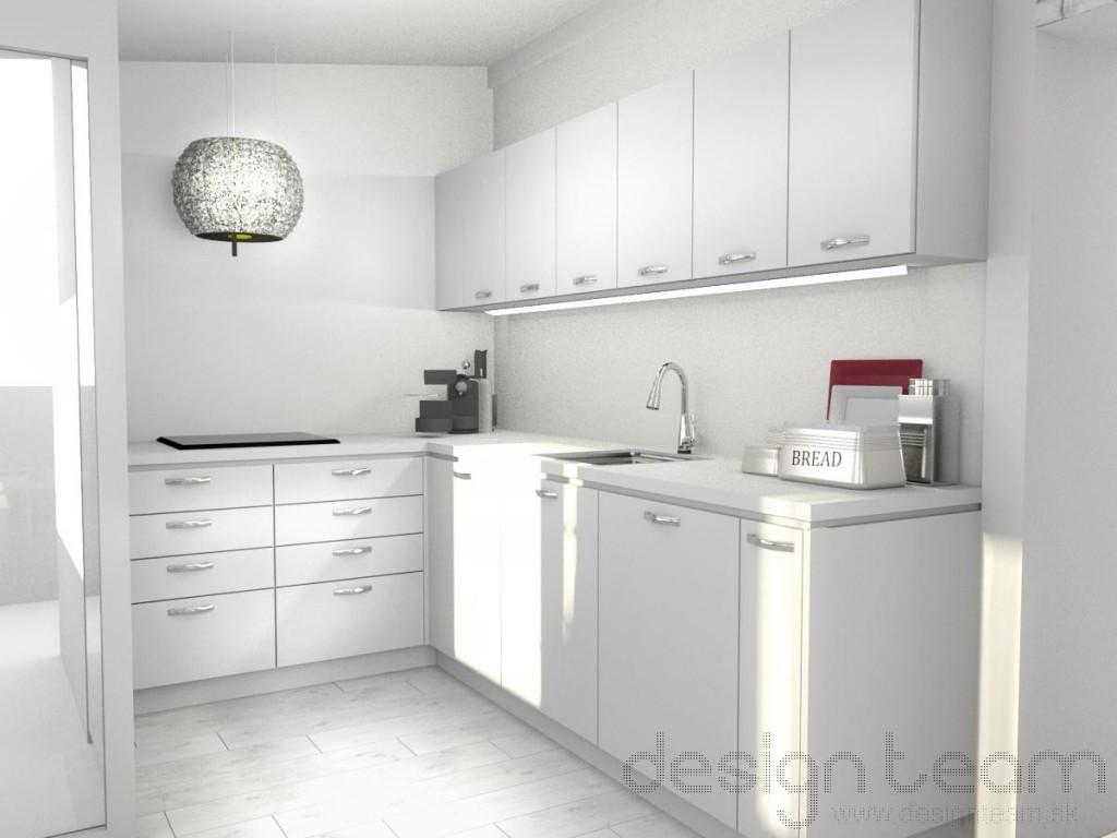 Kuchyňa s L usporiadaním, kvôli menším rozmerom kuchyne chladnička a vstavaná rúra je umiestnená v chodbe.