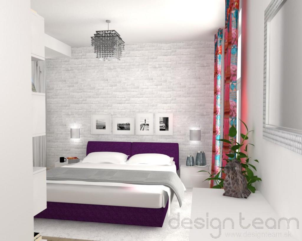 Pri vstupe do miestnosti upúta pohľad kryštálový luster a bielo natretá tehličková stena.