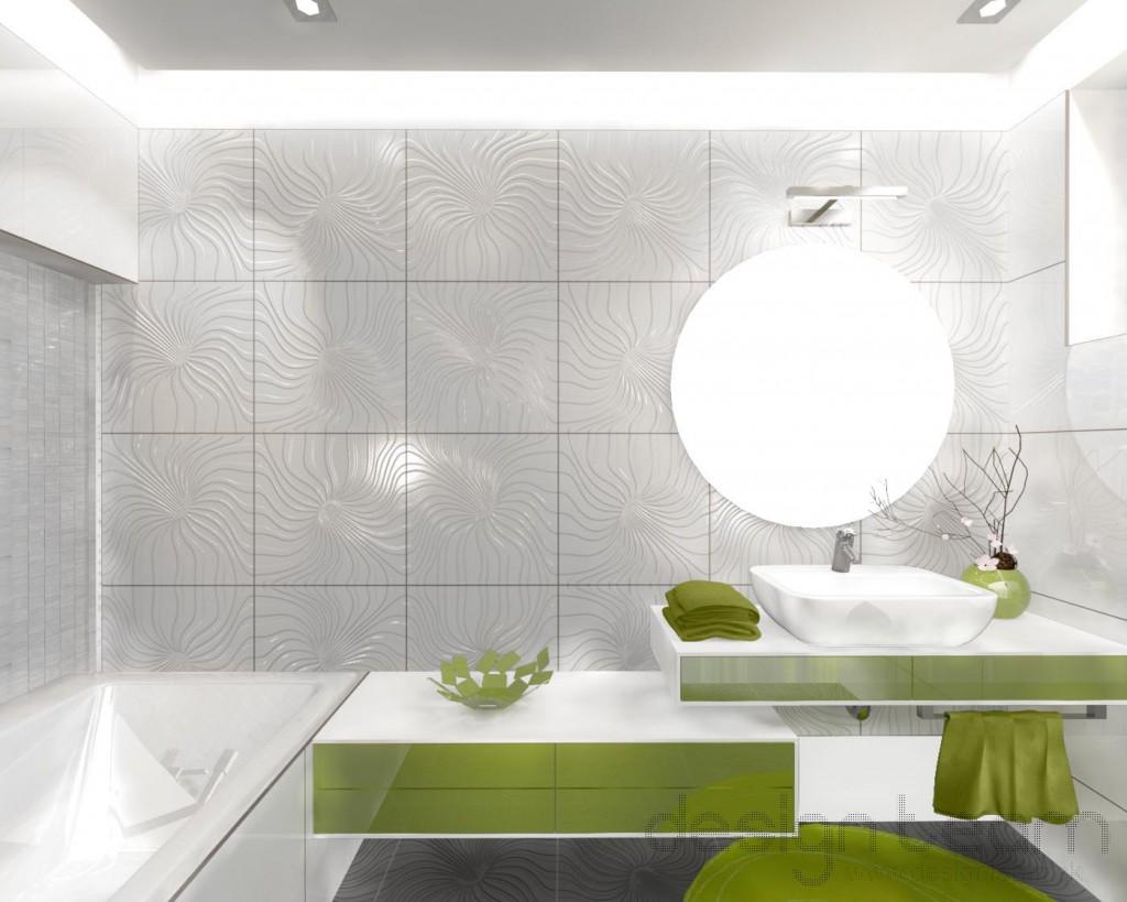 Dominantný keramický obklad v bielej farbe doplnený o zariaďovacie prvky v zelenej farbe.
