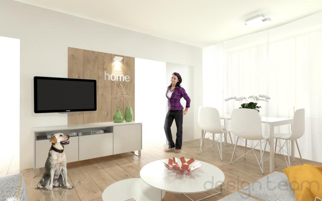 Aj napriek nevhodnej dispozícií (rozmiestnenie a počet stavebných otvorov) ponúka obývačka dostatok pohodlia pre celú rodinu.