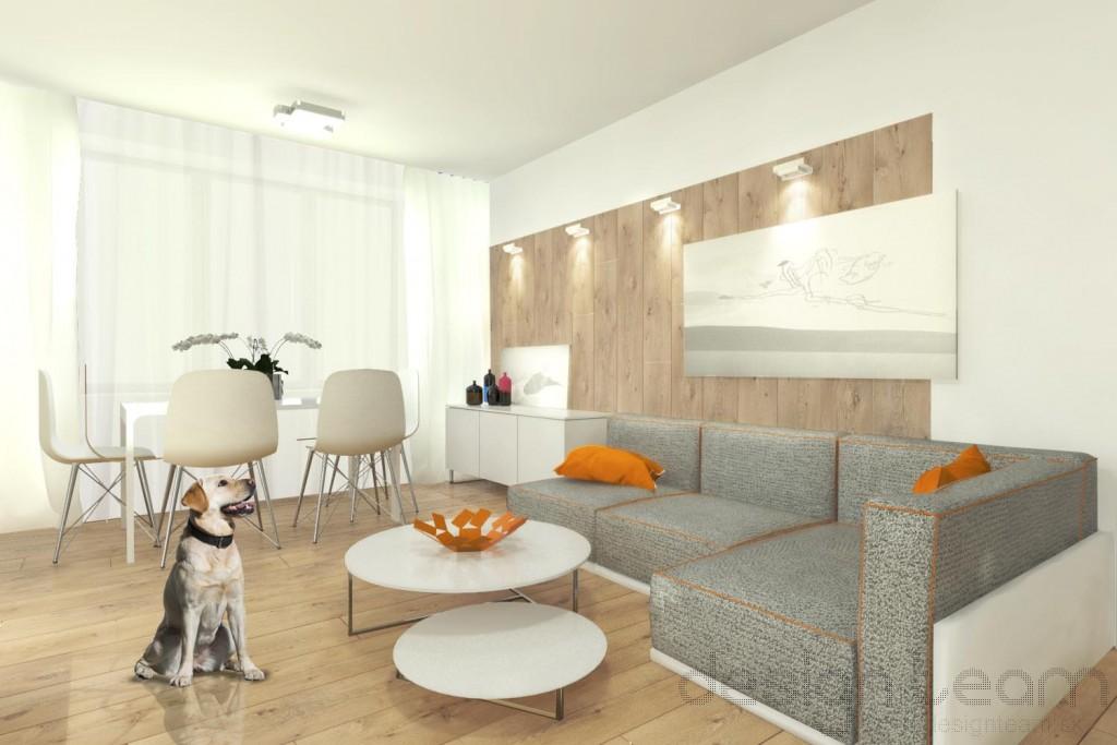 V menšej obývačke je dominantný jedálenský kút, pohovka je kompaktnejších rozmerov.