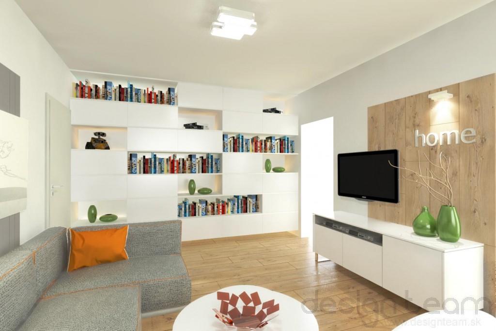 Knižnica na mieru od steny po stenu s otvorenými a uzavretými časťami poskytuje dostatok úložného priestoru.