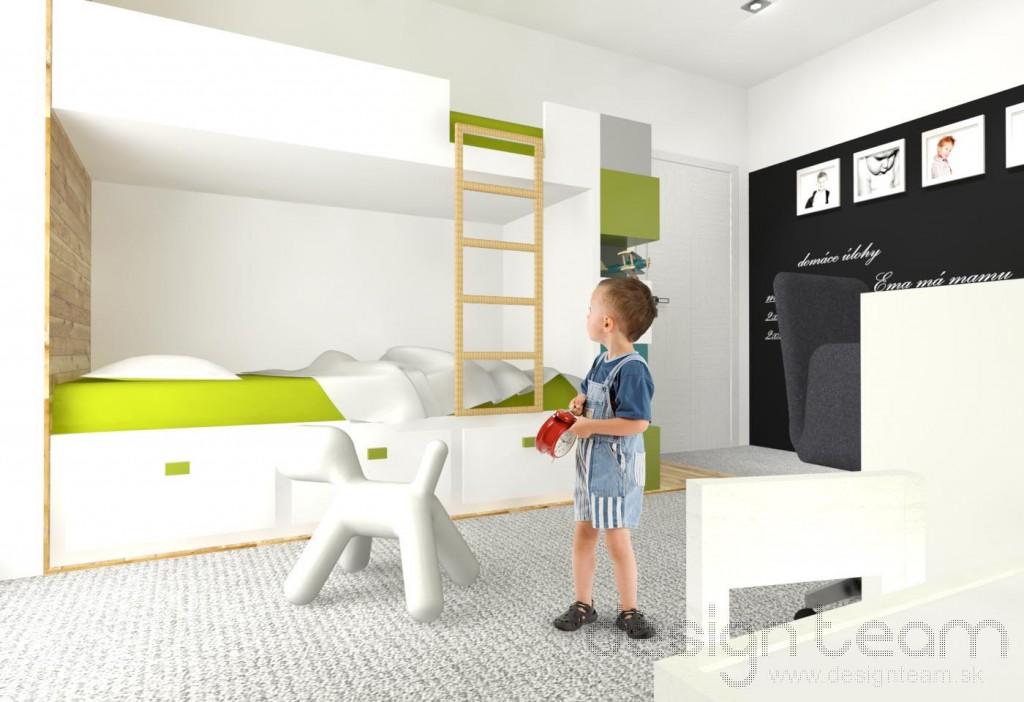 Poschodová postel je od zvyšku izby vizuálne oddelená dreveným obkladom. Podlaha izby je opatrená kobercom, ktorý je príjemný na dotyk.