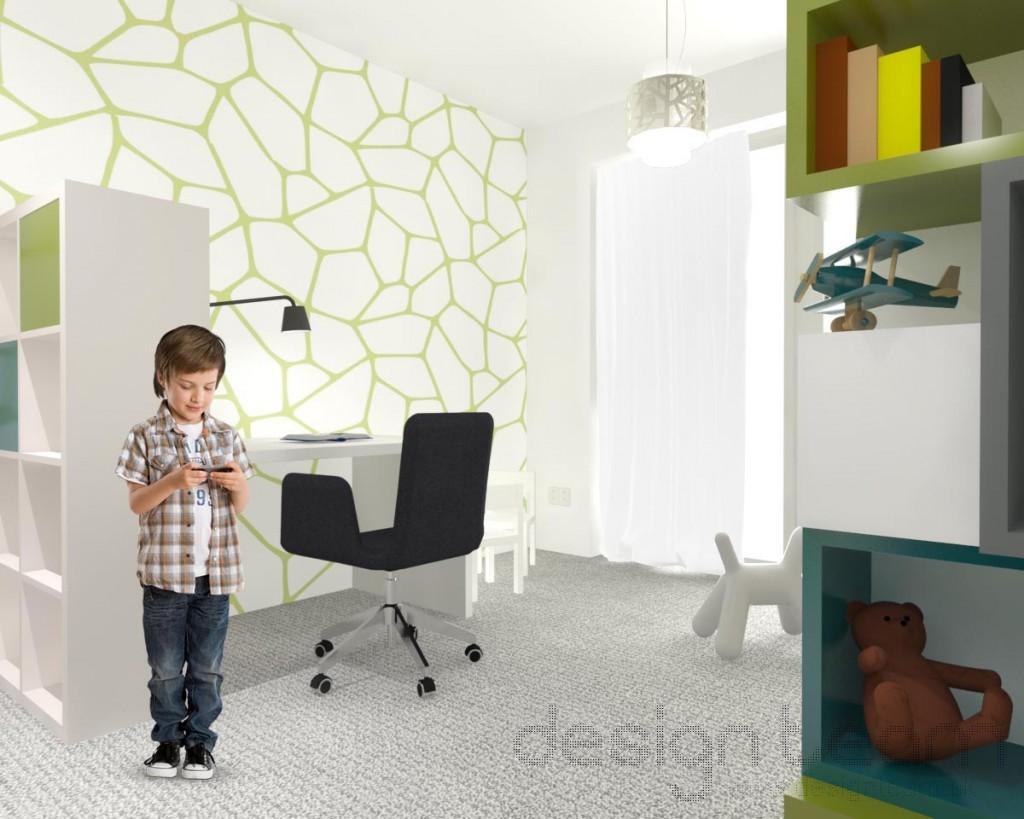 Tapeta vo farbách izby dynamických tvarov dodáva detskej izbe hravosť.
