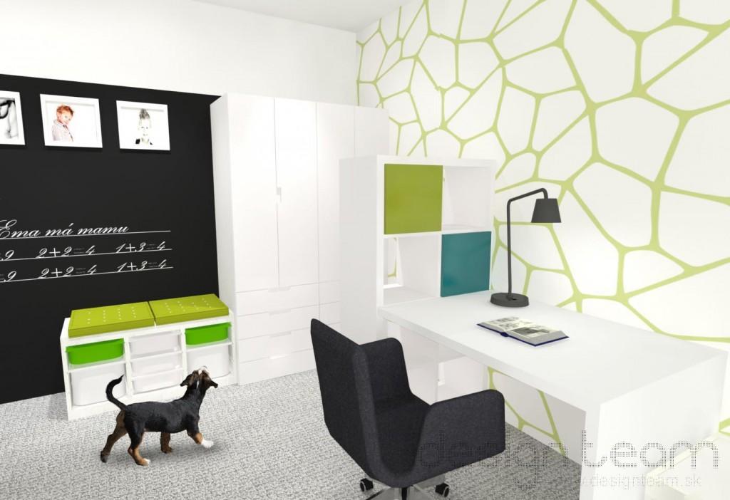Šatník je vizuálne oddelený od zvyšku izby policový zostavou. Tabuľová farba na stene podporuje kreativitu detí.